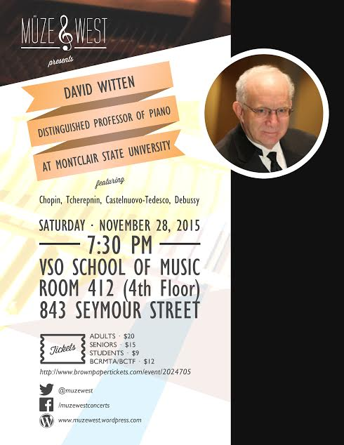 Professor David Witten, international pianist.
