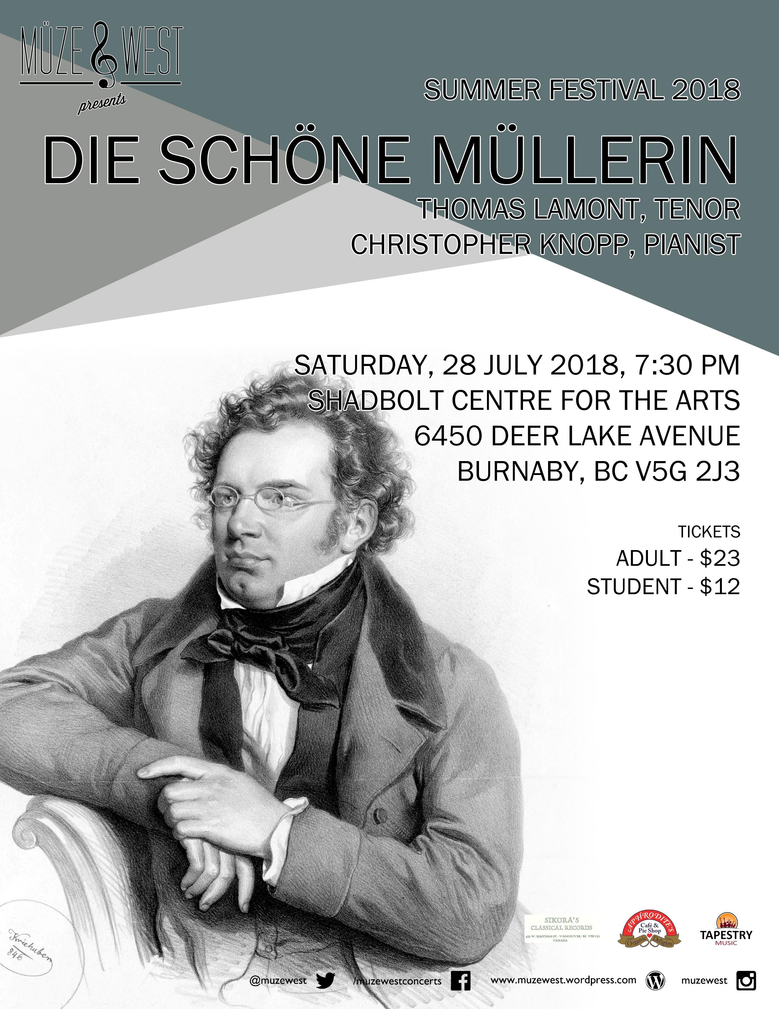 Sat. July 28 – 7:30 PM, Die Schöne Müllerin – Shadbolt Centre for the Performing Arts