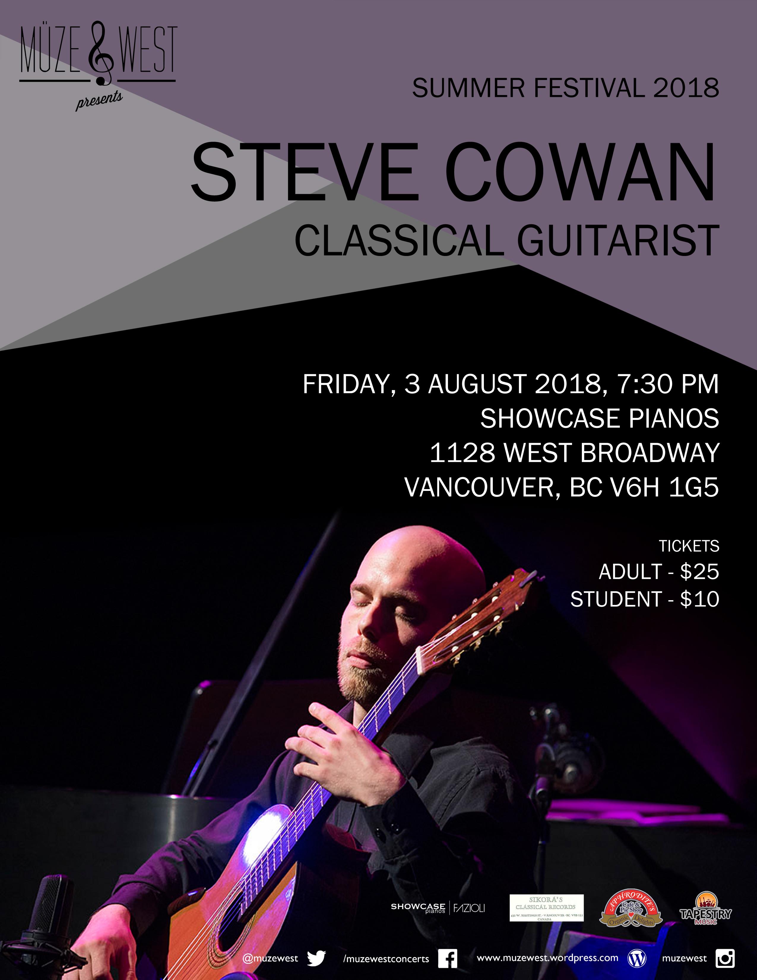 Fri. Aug. 3 – Steve Cowan, classical guitar