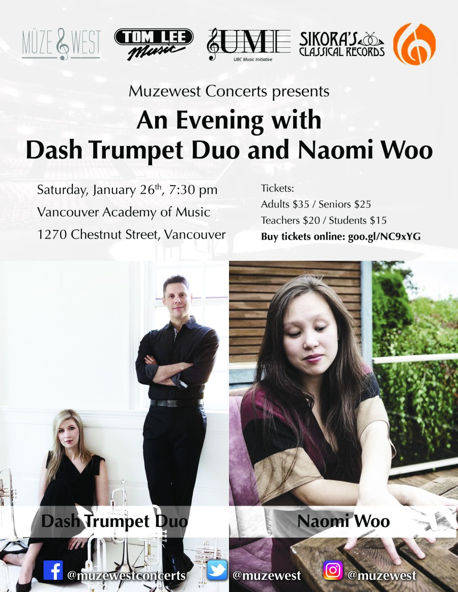 Sat. Jan. 26, 2019 – Dash Trumpet Duo with Naomi Woo (7:30 PM – VAM)
