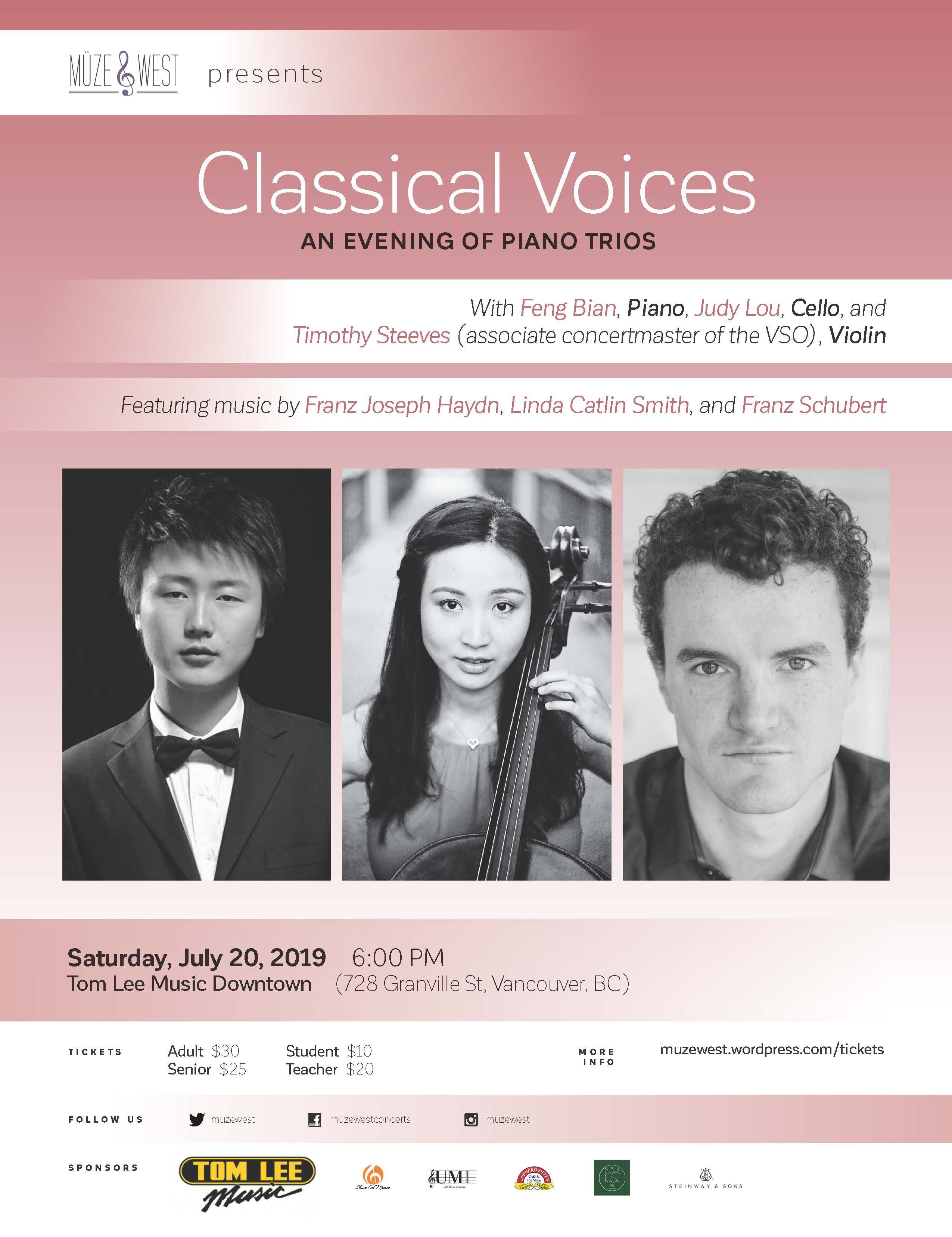 Sat. July 20, 2019 – (18:00) – Piano Trios with Feng Bian, Judy Lou, and VSO associate concertmaster Timothy Steeves