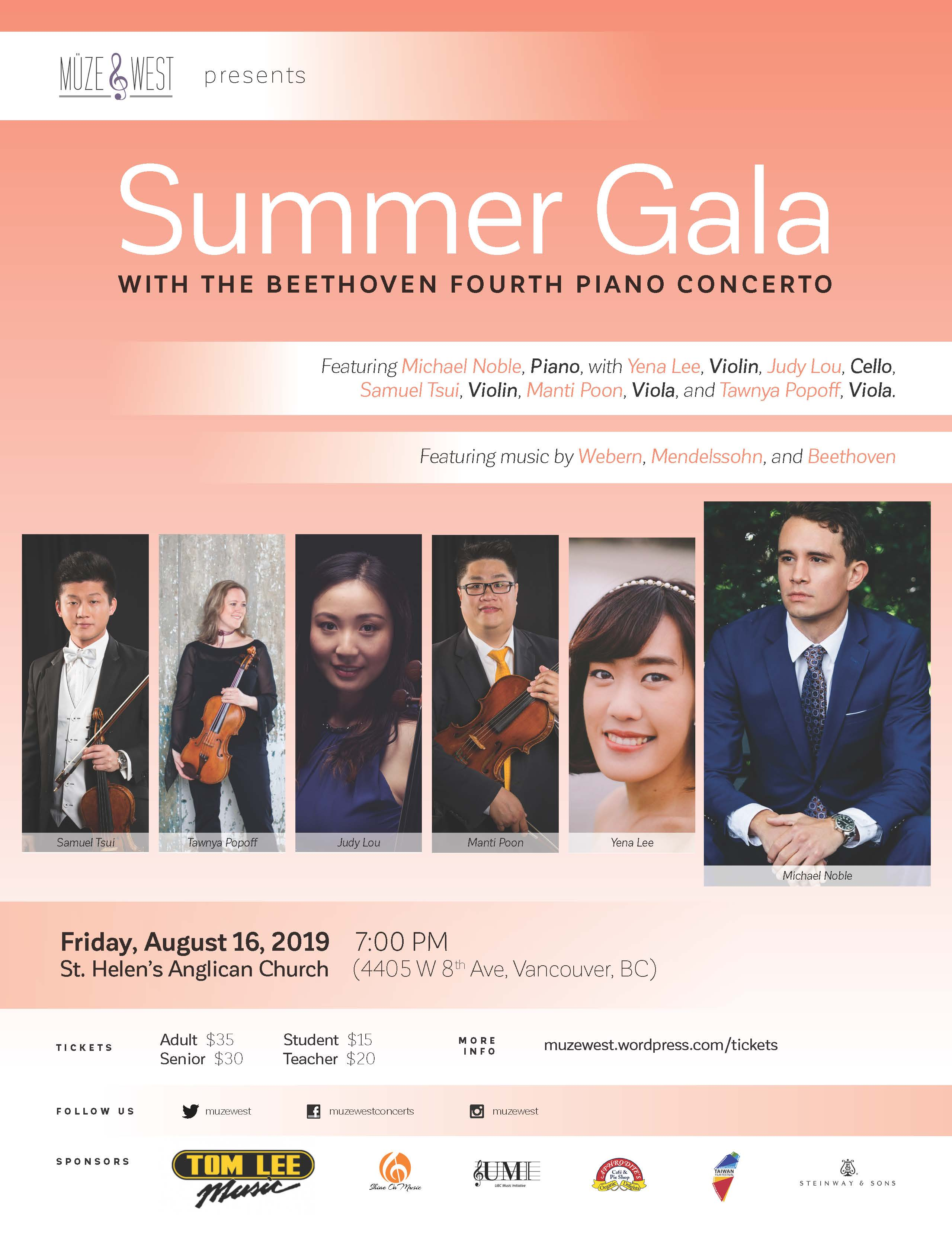 Fri. Aug. 16 -7 PM – Gala Concert with Beethoven's Piano Concerto 4