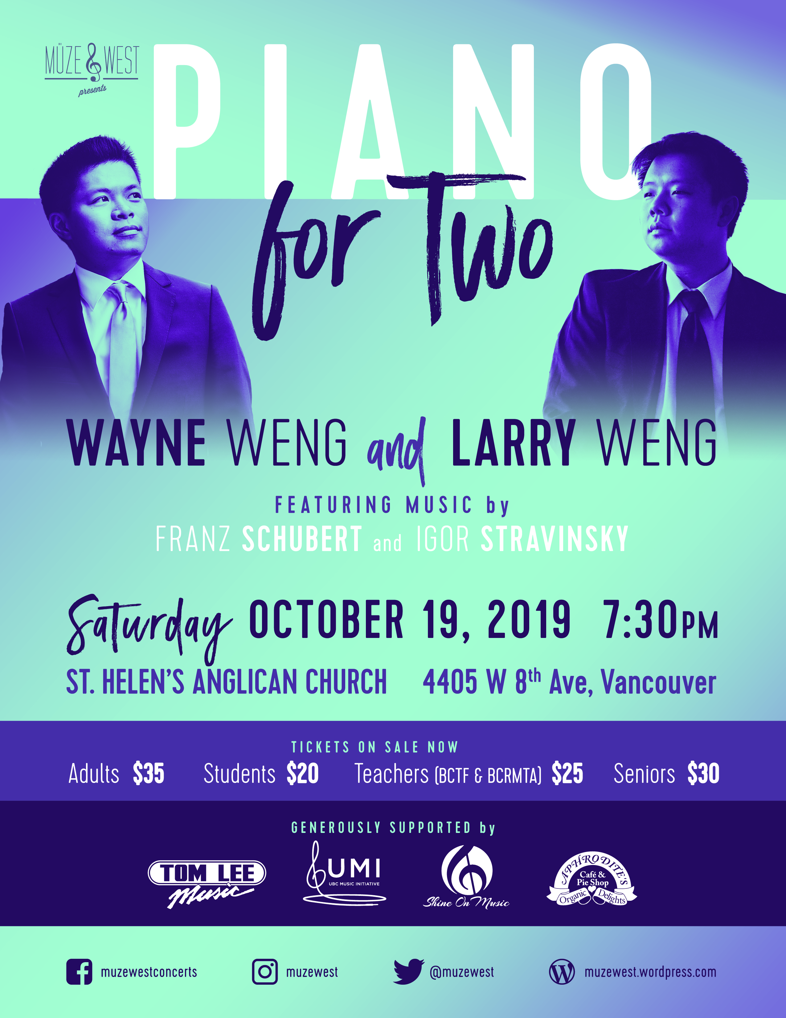 Piano for Two – Saturday, October 19, 2019