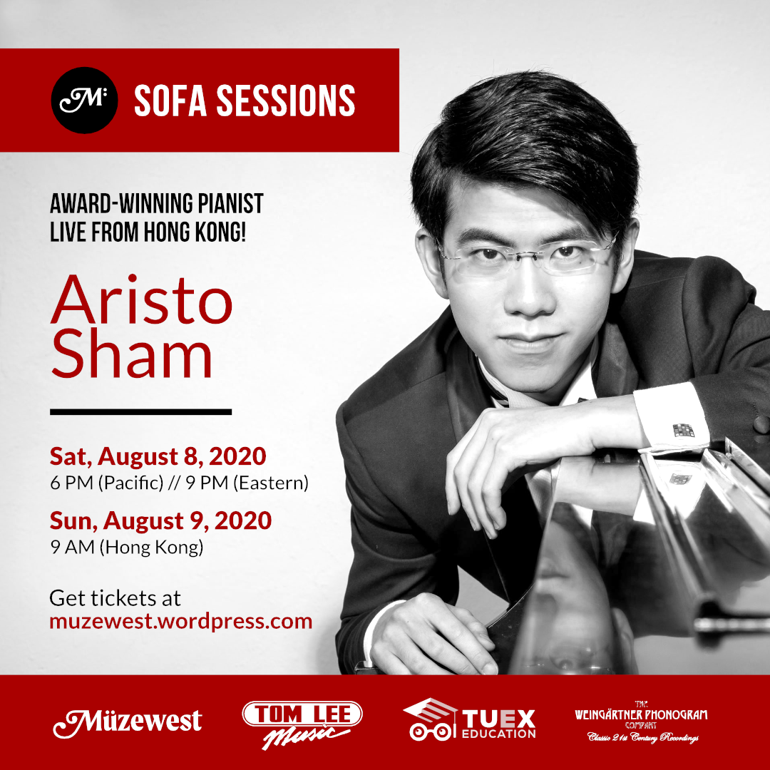 Aristo Sham, pianist – live from Hong Kong (6:00 PM Pacific – Sat. Aug. 8)