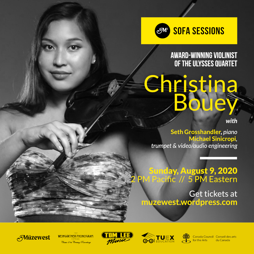 Sun. Aug. 9 (2 PM Pacific) – Tina Bouey, violinist – live in the Sofa Sessions